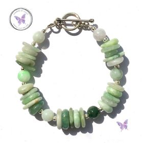 Chunky Jade Bracelet With Silver Toggle Clasp